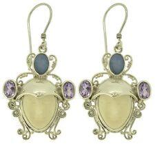 Buffalo Bone Goddess Face Opal Amethyst Sterling Silver 925 Earrings