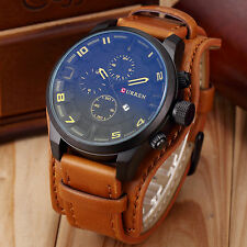 New Men's Curren Sports Date Leather Quartz Outdoor Stylish Army Wrist Watch