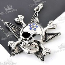 Gothic Clear Blue Crystal Skull Head Pirate Star Bone Cross Bead Pendant Antique