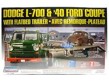 Lindberg Dodge Semi Tractor Flatbed Trailer & '40 Ford Coupe 1/25 Model Kit New