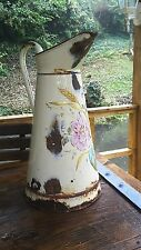 Stunning Large vintage French enamel water jug pitcher cream with relief work