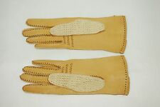 VINTAGE ITALIAN WOMENS BROWN LEATHER DRIVING GLOVES LACE DETAIL SIZE 7.5 W208