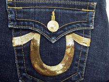 True Religion Women's Jean Billy Sz 31 Gold Sequin Dark Wash Straight Leg