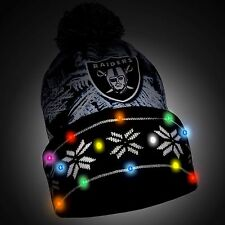 Oakland Raiders Big Logo Light Up Printed Beanie Winter Hat Toque Cuffed Pom New