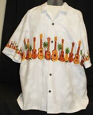 Royal Hawaiian Creations Shirt Men 2XL White Pineapple Guitar Ukulele Palm Tree