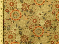 Momentum Trove Carex Mid Century Modern Retro Floral Tan Upholstery Fabric