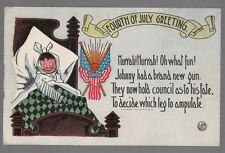 """[54328] OLD PATRIOTIC POSTCARD FOURTH OF JULY GREETING """"JOHNNY'S NEW GUN"""""""