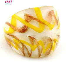 Fashion Murano yellow&brown Cross-wound Lampwork art Glass ring band Size 8 EY56