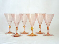 Lot of 6 Venetian Murano Art Glass Water Wine Pink Gold Aventurine Glasses