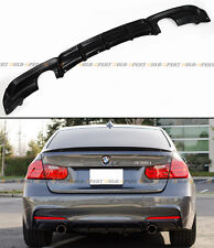 2012-2016 BMW F30 335i M SPORT DUAL EXHAUST TIPS BLK REAR BUMPER DIFFUSER LIP