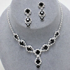 ELEGANT Jet Black Crystal Rhinestone Necklace Set Fashion Jewelry-Evening Formal