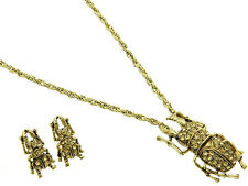 New Unusual Crystal Stag Beetle Necklace Earring Set Insect Bug Gold Tone