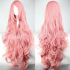 100cm Pink Color Long Curly Wigs Hair Carve Cosplay Costume Anime Party - NEW