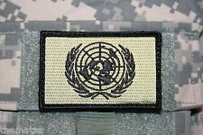 UNITED NATIONS OD GREEN FLAG EMBROIDERED PATCH WITH HOOK LOOP BACKING  3 X 2