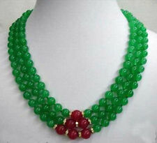 8mm Genuine Green Emerald & Red Ruby 3 Rows Necklace