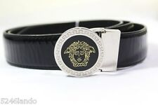 Gianni Versace Black Leather Round Buckle Medusa Face Belt 38 44 110 34 36