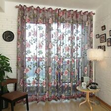 Wine Red Flower Voile Door Window Curtain Drape Valance Home Decor 250x100cm