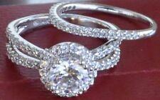 14K White Gold Round cut Engagement Ring & Wedding Band 2 pc Set 5 6 7 8 9