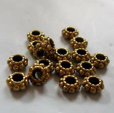 6mm Tibetan Style Antique Gold Daisy Spacers, LARGE Hole, FORTY, Nickel Free