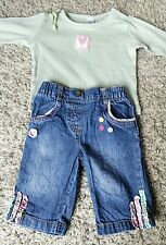 Baby Girl 0-3 Months Next Jeans & Green Pink Heart Long Sleeve Top Outfit Bundle