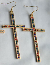 Extra Large Muti Crystal Cross (75cm*35cm) Light Gold Tone charm Earrings Kitsch