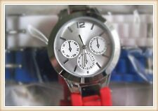 WOMEN'S SILICONE BAND WATCH WHITE RED BLUE  3 CHANGABLE BANDS NWB SILVER TONE