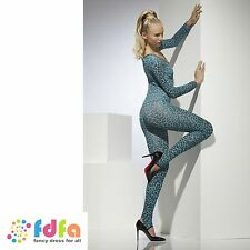 BLUE LEOPARD PRINT CATSUIT BODYSTOCKING womens ladies fancy dress clubwear