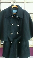 NINE WEST COAT SIZE UK 10 GREY  CAPE COAT WOOL DOUBLE BREASTED