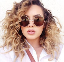 Oversized Round Sunglasses Circle Gold Brown Designer Vintage Fashion