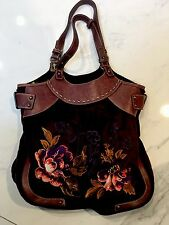 Oilily Flower Embroider Bag Velvet Brown Orange Purse