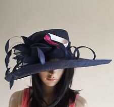NEW LADIES NAVY BLUE SINAMAY HAT WEDDING ASCOT OCCASION MOTHER OF THE BRIDE