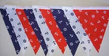 Nautical Red White Blue Fabric Material Bunting Party Bedroom 2mt or longer gift