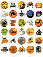 30 x 35mm Halloween Party Mixed Edible Fairy Cup Muffin Cake Toppers Decorations