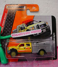 2014 Matchbox #82 FORD F-550 SUPER DUTY PUMPER☆Yellow/Gray☆HEROIC RESCUE☆short