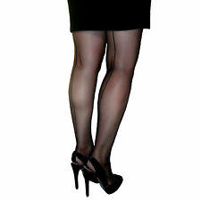 Essexee Legs Cuban Heel Tights Black seamed Size: Large 88% Nylon 12% Elastane