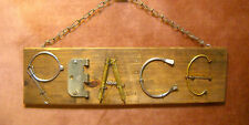 "Reclaimed Recycle Metal & Wood Yard STEAM PUNK Art Wall Sign  19"" x 5 1/2"" PEACE"