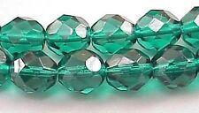 Czech Firepolish Glass Beads 8mm Emerald C72 Green Round Faceted Transparent