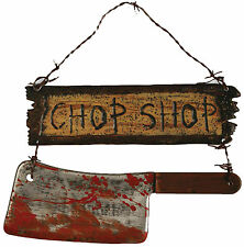 HALLOWEEN CHOP SHOP SIGN CLEAVER BUTCHER CEMETARY GRAVEYARD DECORATION PROP
