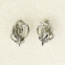 Vintage Estate Sale Signed Coro Earrings Silver Tone Knot Leaf Clip Ons Lovely!