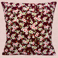 "JAPANESE ORIENTAL ASIAN CHERRY BLOSSOM BURGUNDY PINK 16"" Pillow Cushion Cover"