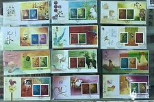 China Hong Kong 2001 - 2012 FDC Gold Silver S/S New Year Full stamps Cock