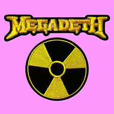 2 LOT Megadeth Nuclear Logo Gold Text Heavy Metal Thrash Music Patch Iron On