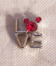 Stacked Love w/ Red Crystal Mickey Mouse Floating Locket Charm -Silver-tone