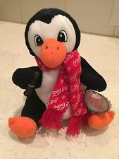 "COCA-COLA PLUSH PENGUIN IN COCA-COLA SNOWFLAKE SCARF HOLDING COKE 6 1/2"" HIGH"