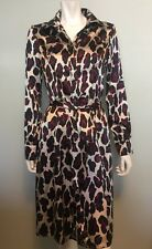Lapis Snow Leopard Print Knee Length Belted Shirt Dress Purple White Black Sz M