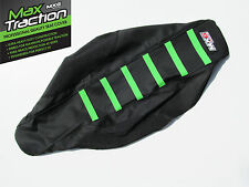 KAWASAKI KXF450 2009 2010 2011 RIBBED SEAT COVER BLACK WITH GREEN STRIPES RIBS