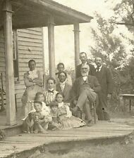 FAMILY WITH CHILDREN AND DOG POSING FOR THE CAMERA BY HOUSE - ANTIQUE PHOTO