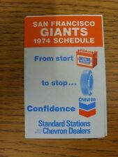 1974 Fixture Card: Baseball - San Francisco Giants (fold out style). Any faults