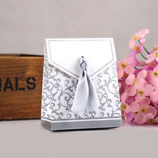 New Fashion Silver Ribbon Wedding Favor Birthday Party Gift Candy Paper Box 50Pc