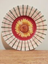 LOVELY Country Ceramic Sunflower Plaid Candle Plate Dish 7.5 in.